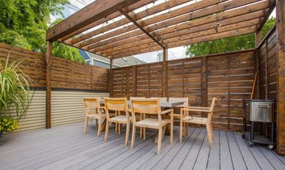 Shaded deck area with pergola