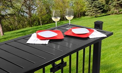 Deck Rail Table for small backyards