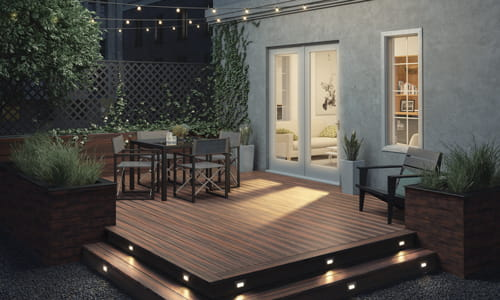 Heritage Riverhouse Decking with step lights