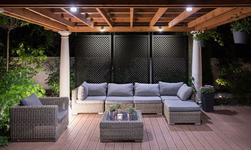 Black lattice used as a privacy screen for an on trend look.