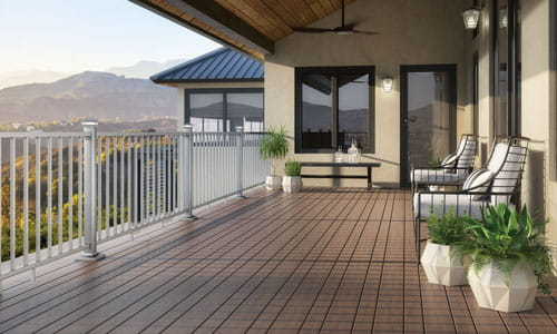 Deckorators Vista Ironwood decking. Rotating between 6 and 4 inch board widths.