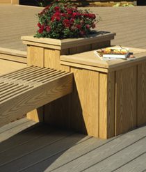 Composite decking for bench and planter box