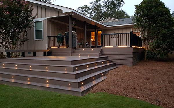 Heritage composite decking with recessed lighting