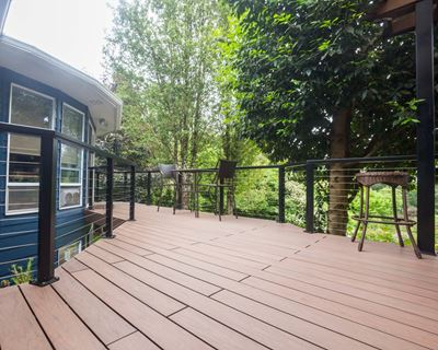 Deck built by Adrian's Quality Fencing & Decks using Vault Mesquite decking