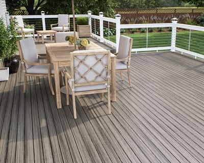 Vista Decking in Driftwood and ALX Pro Railing in White with Cable and ALX 2.5' Solar Post Caps in White