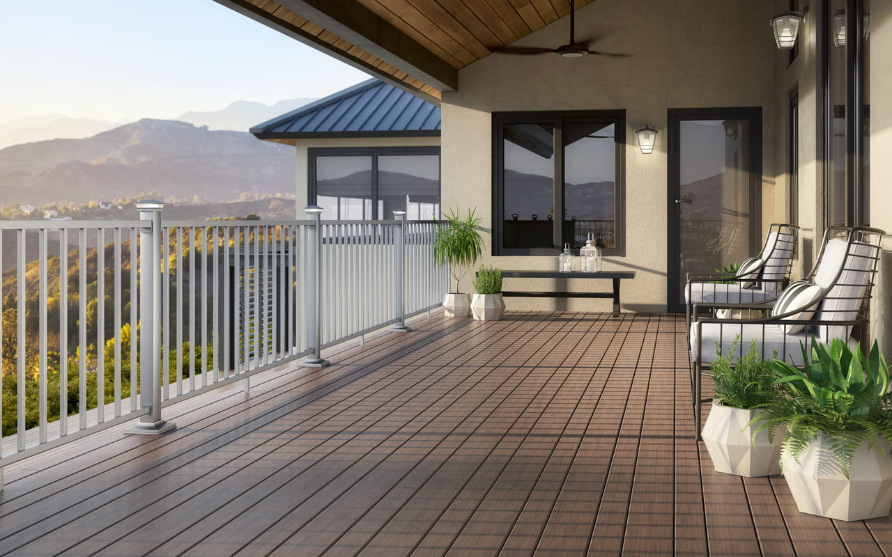 ALX Contemporary Railing with Vista Ironwood decking
