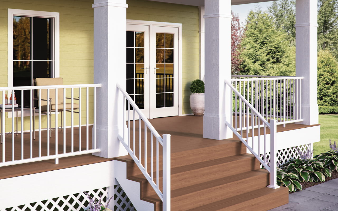 White lattice used for deck skirt
