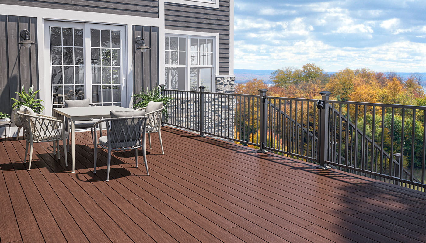 Trailhead Decking in Canyon with ALX Contemporary Pre-Assembled Railing and Gate in Textured Black with 2.5