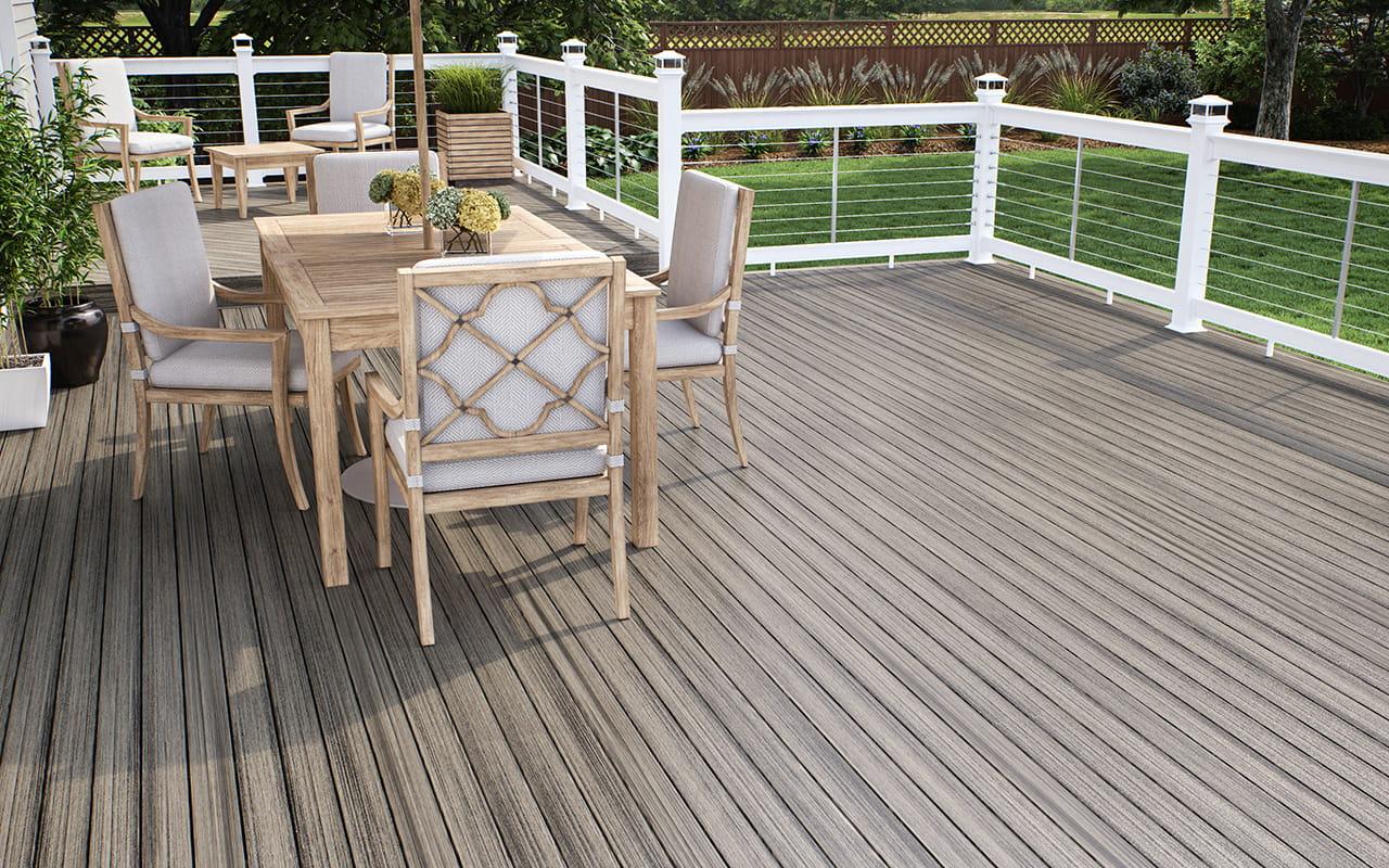 Terrasses en composite de mod le vista deckorators for Terrasse bois flotte