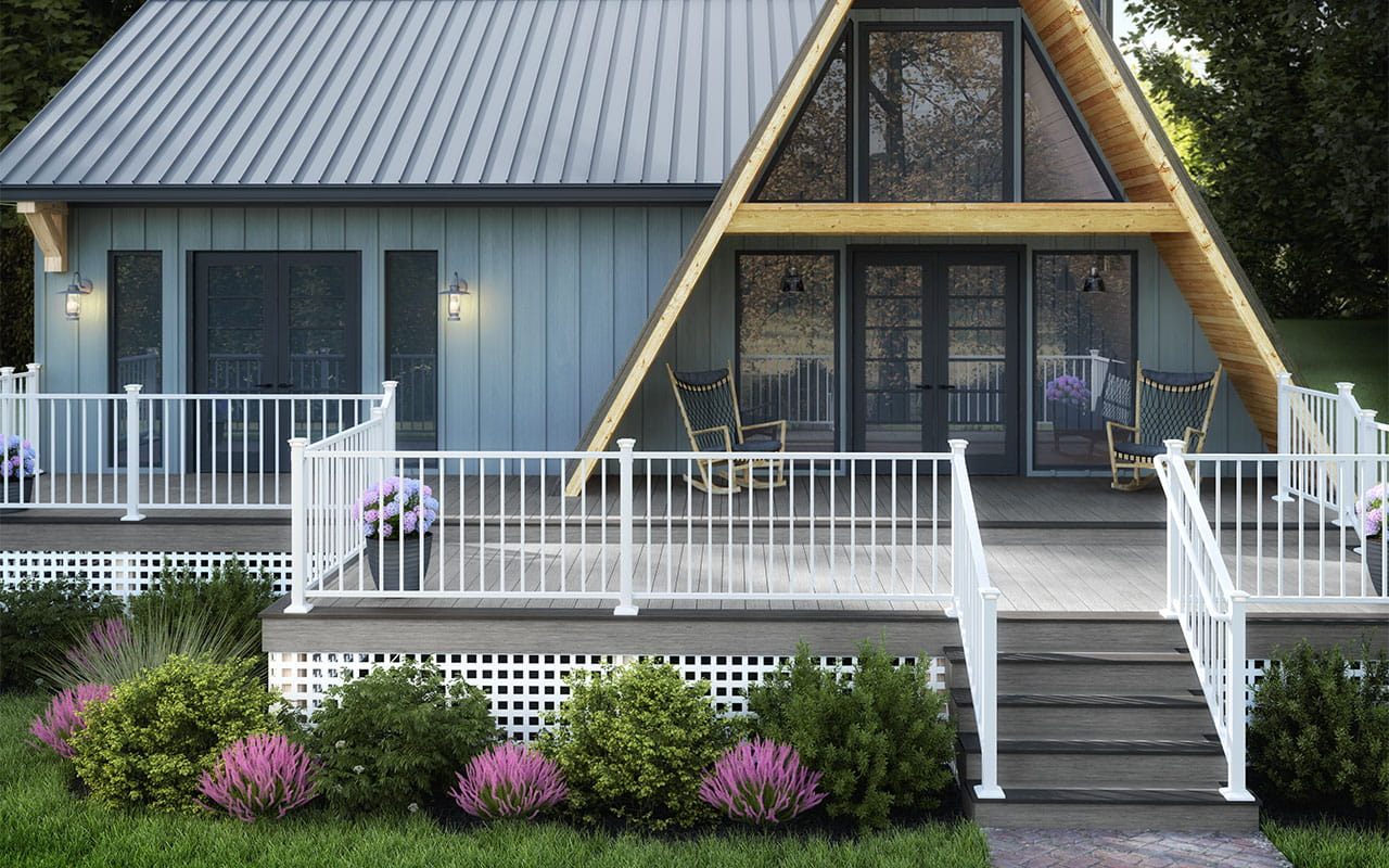 Vista Decking in Silverwood and Driftwood with ALX Contemporary Pre-Assembled Railing and Aluminum Secondary Handrail in Textured White