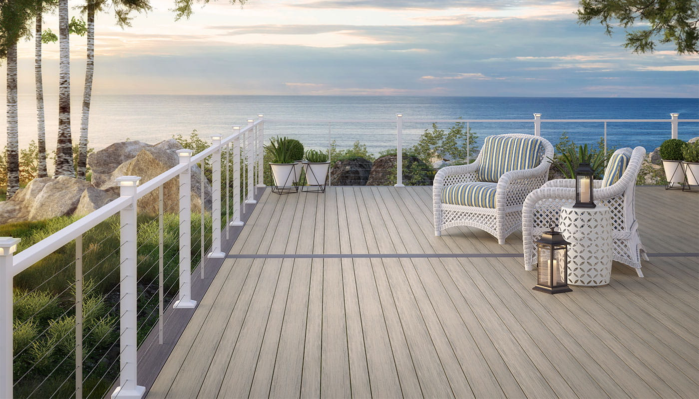Voyage Varied-plank Decking in Tundra with ALX Contemporary Cable Railing in Textured White