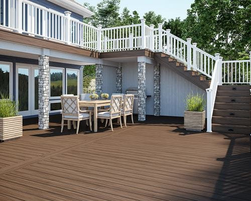 Voyage Mesa Decking, Classic White Composite Railing and Luna Step Lights