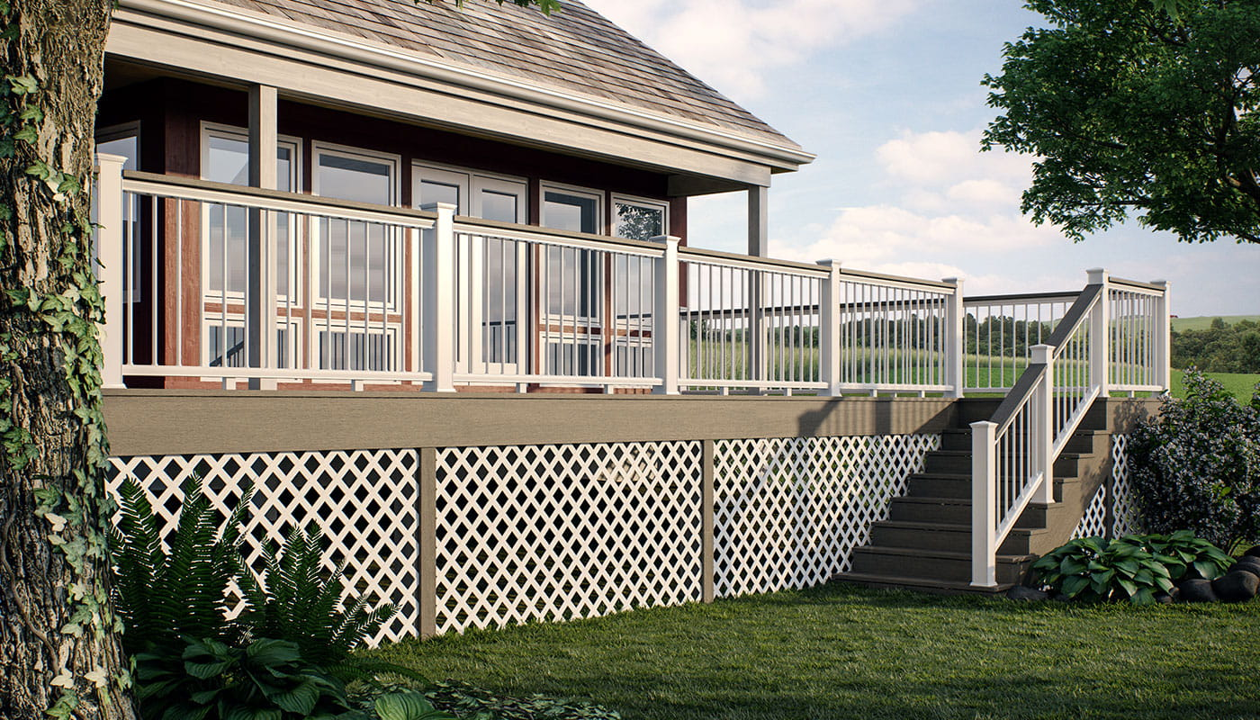 Deckorators white diamond plastic lattice installed underneath deck