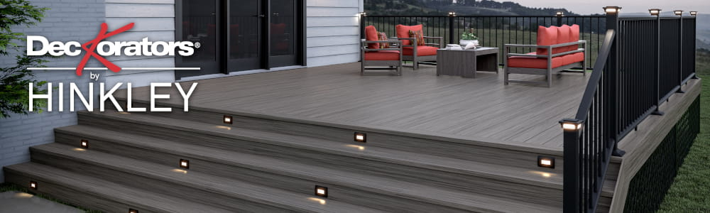 Vista Driftwood and Ironwood Decking with Low-Voltage Post Caps
