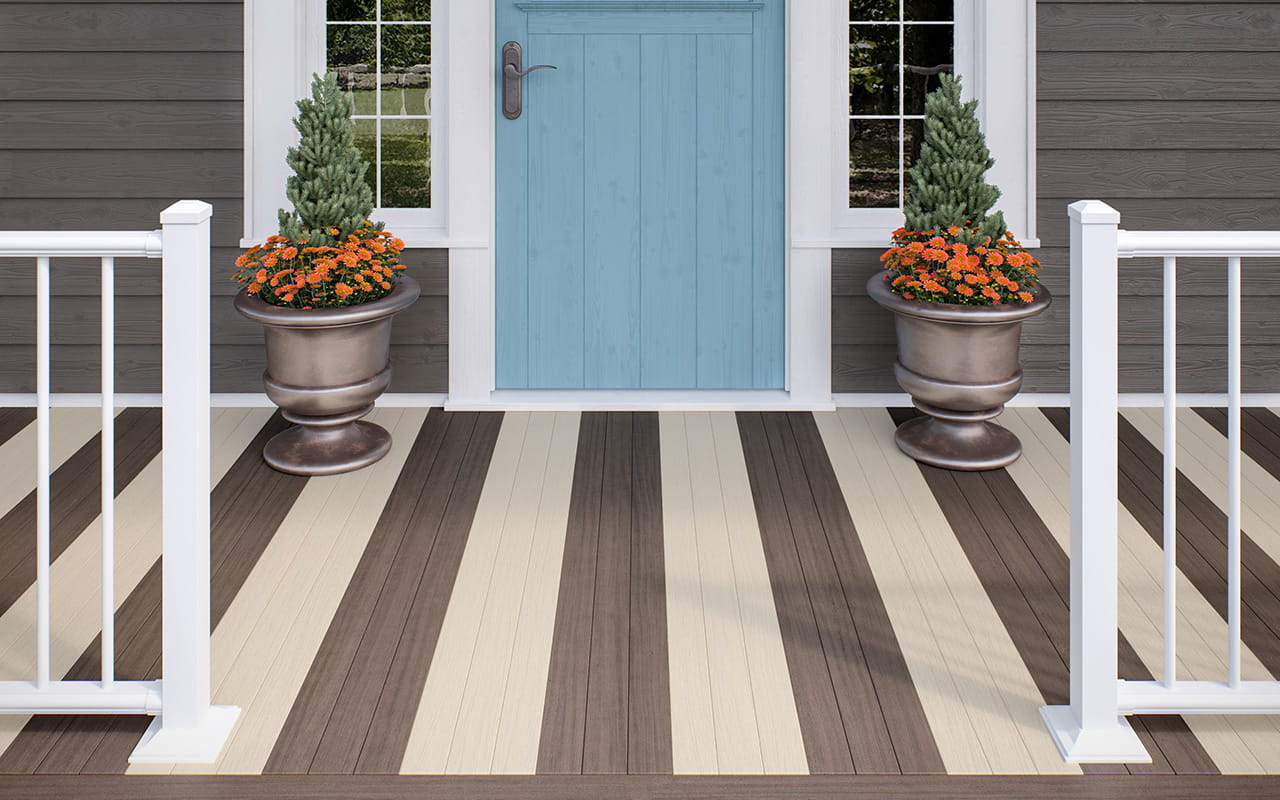 Chicory and Macadamia porch flooring with Textured White ALX Classic railing and White Classic aluminum balusters