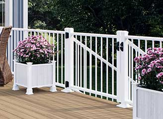 Heritage Decking in Ciderhouse with White ALX Classic Gate