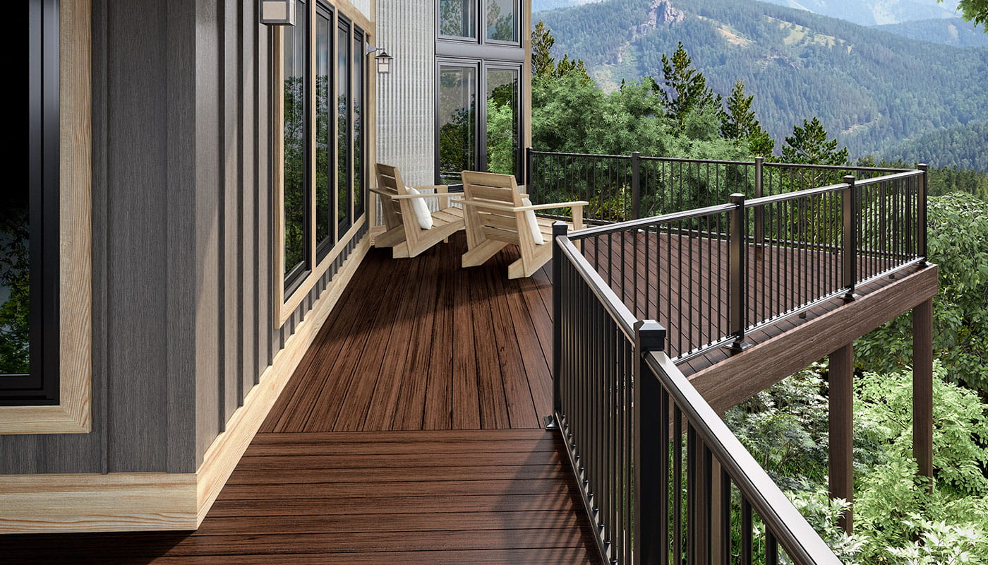 Black ALX Railing with Heritage Riverhouse composite decking