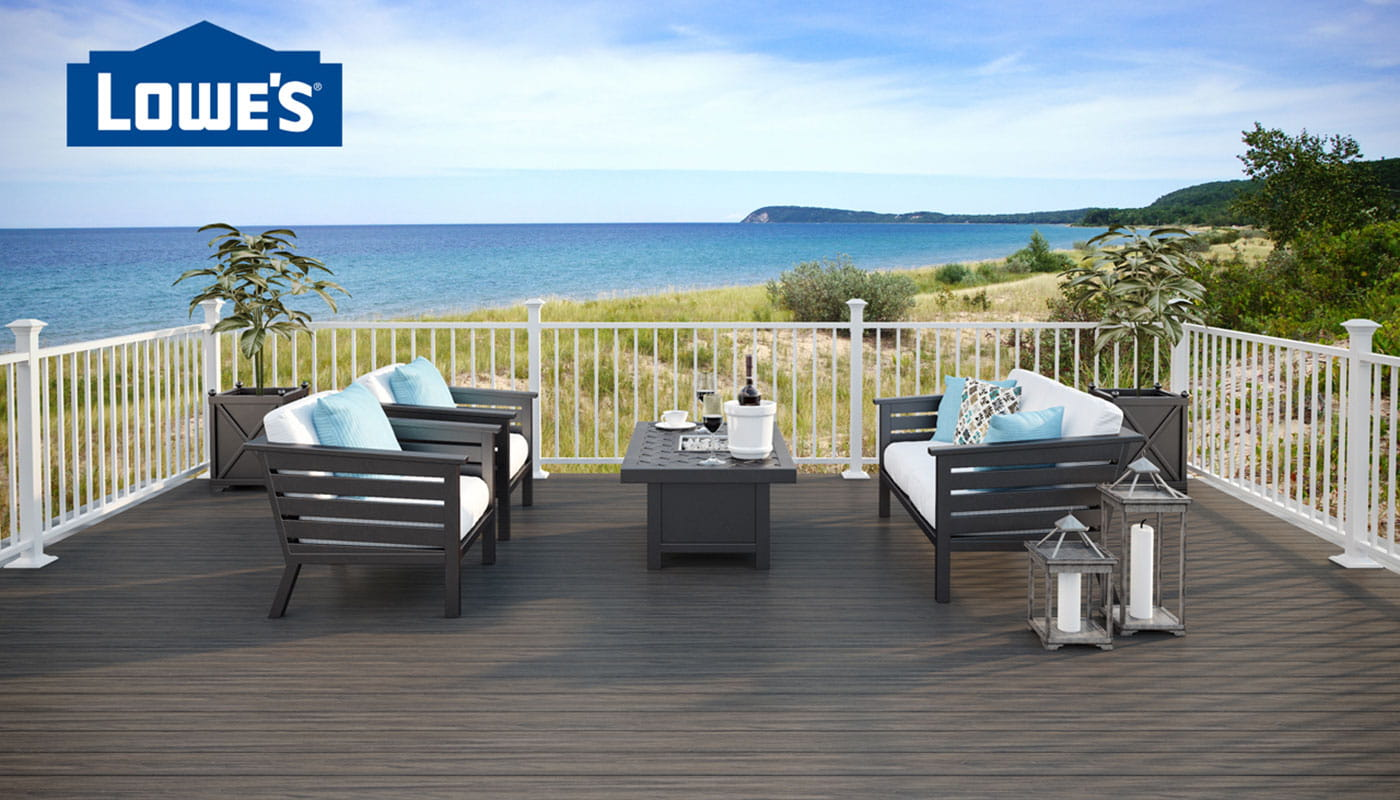Tropics Tidal Gray Decking with Contemporary Aluminum White Railing