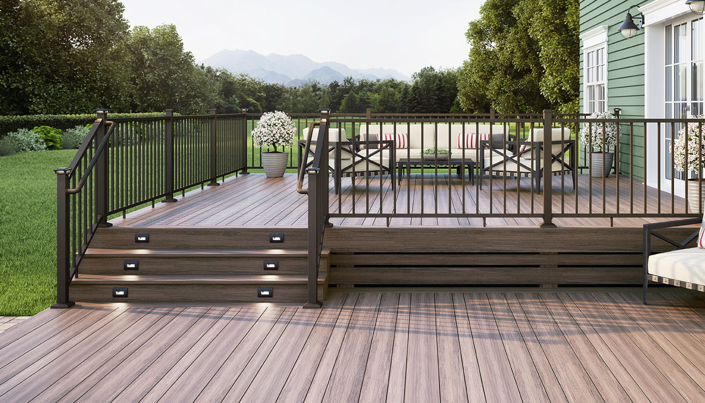 Voyage Mesa Decking, ALX Contemporary Pre-assembled Weathered Brown Railing with Secondary Handrail Components