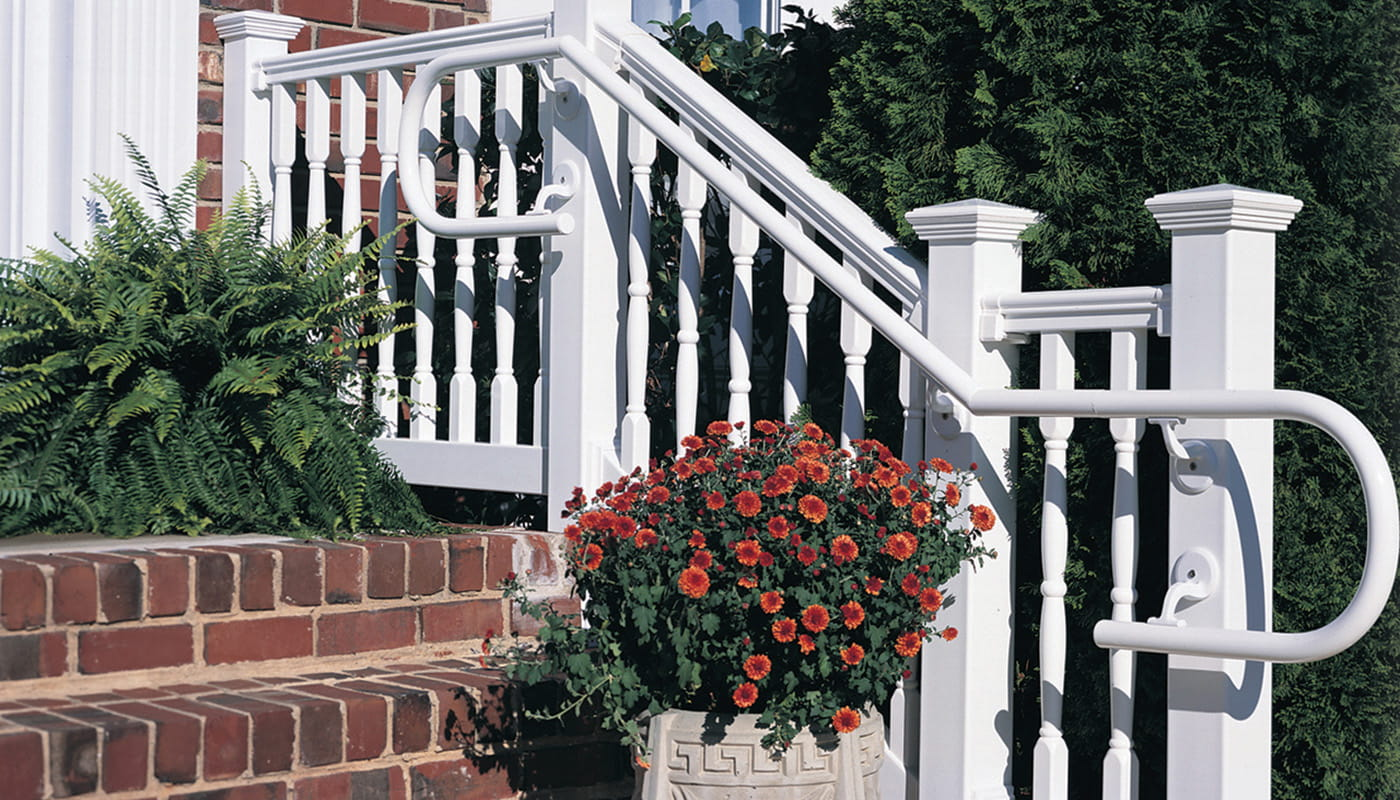 White ADA-compliant porch handrail