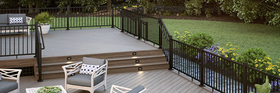 Voyage Khaya Decking with ALX Contemporary Pre-assembled Black Railing