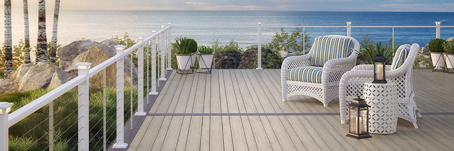 Voyage Tundra Varied-plank Decking with ALX Contemporary Cable Railing in White