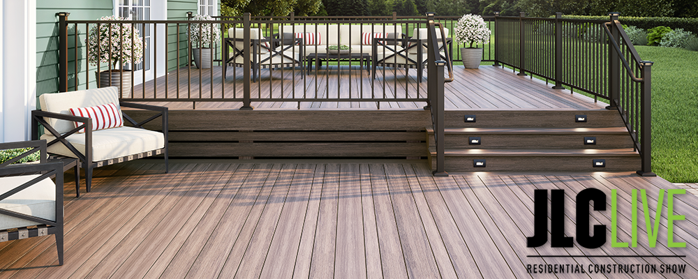 Voyage Varied-Plank Decking in Mesa with ALX Contemporary Pre-Assembled Railing in Weathered Brown