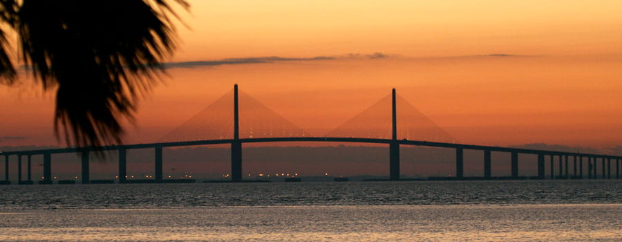 Sunshine Skyway Bridge Sunset View