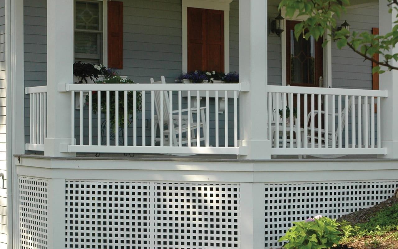White Square Lattice Deck Skirt - Square Plastic Lattice - Deckorators