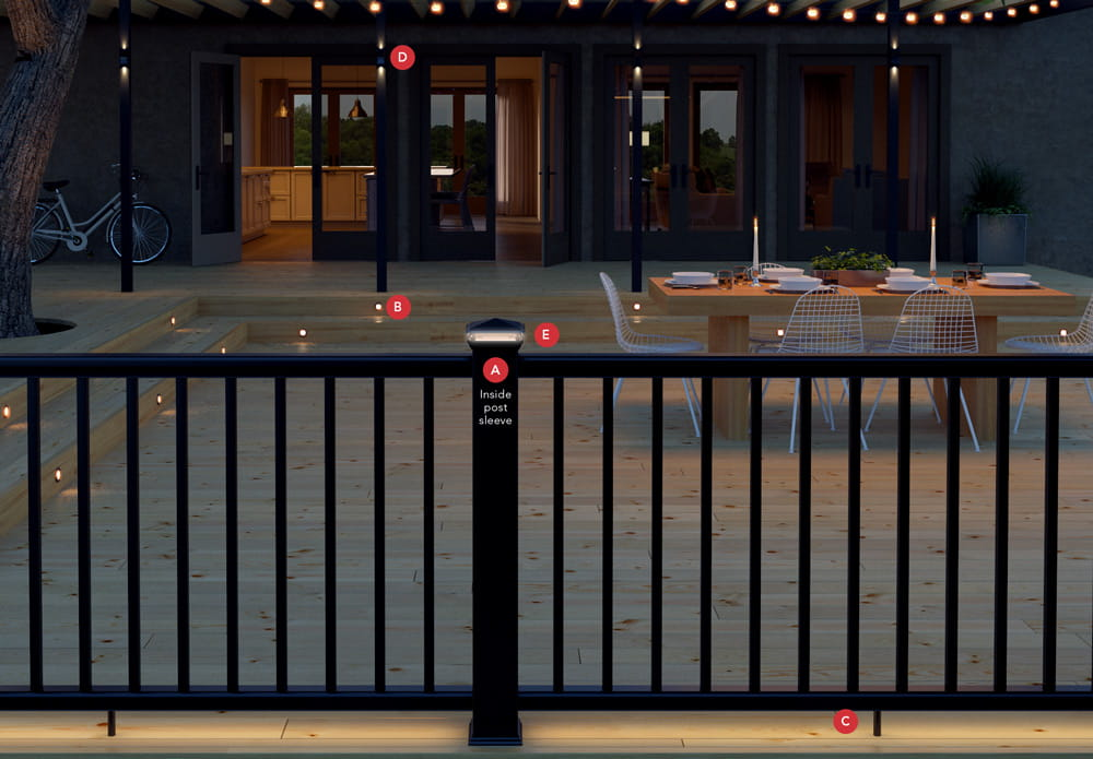 Deckorators post cap with low-voltage LED light shines at night