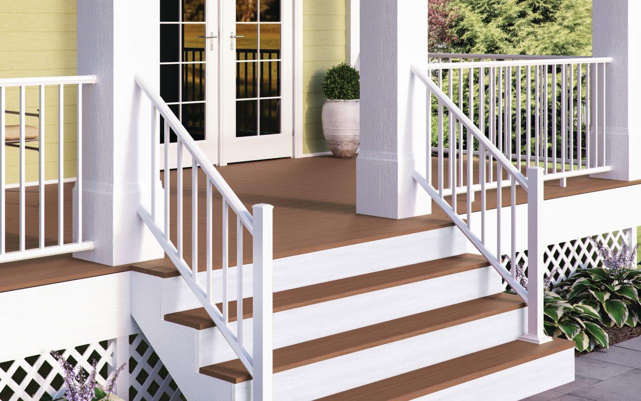 Estate aluminum balusters deckorators for Deck railing materials